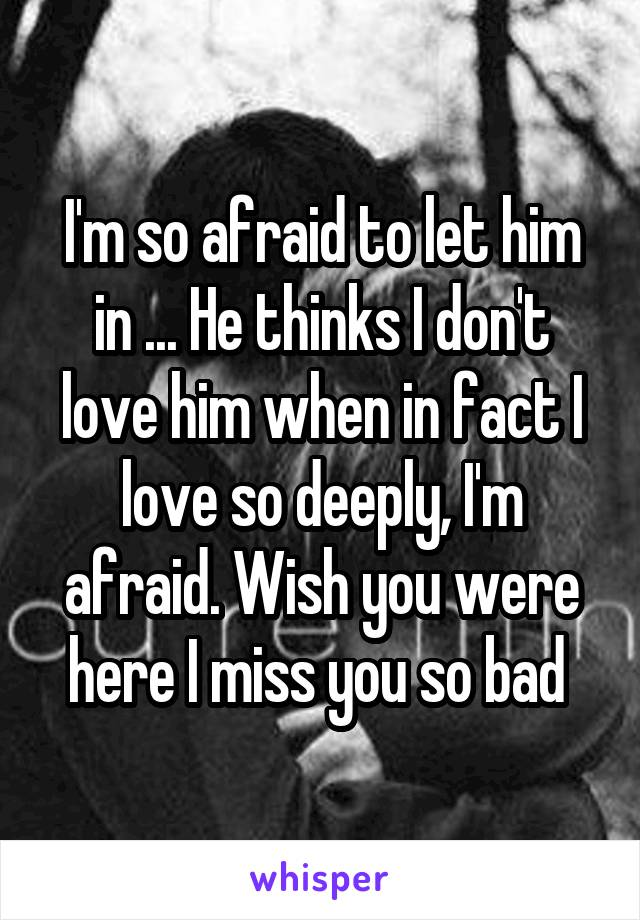 I'm so afraid to let him in ... He thinks I don't love him when in fact I love so deeply, I'm afraid. Wish you were here I miss you so bad