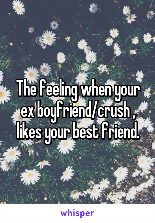 The feeling when your ex boyfriend/crush , likes your best friend.