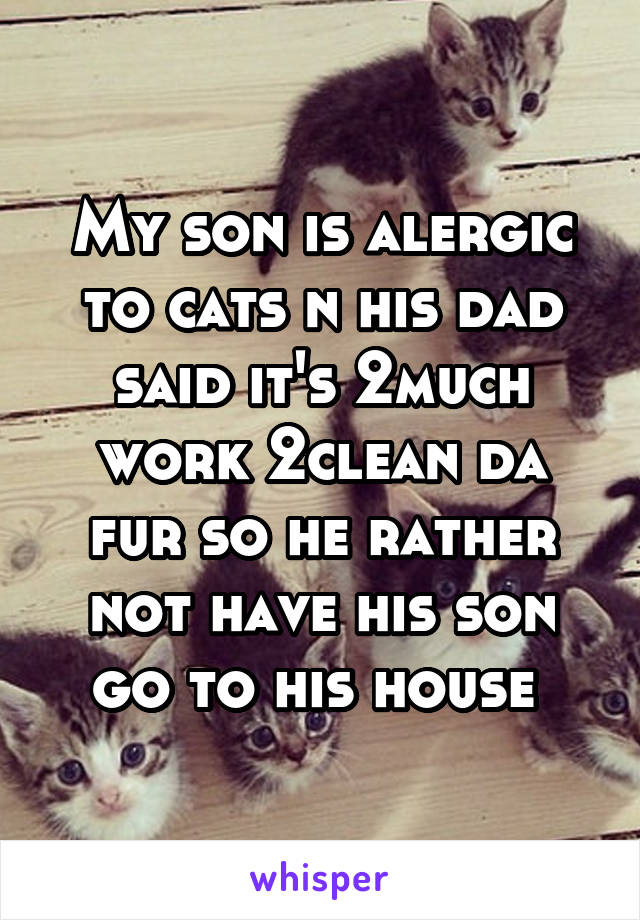 My son is alergic to cats n his dad said it's 2much work 2clean da fur so he rather not have his son go to his house
