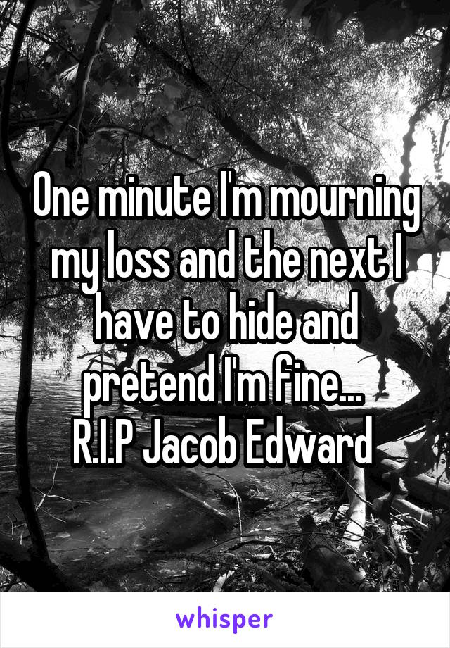 One minute I'm mourning my loss and the next I have to hide and pretend I'm fine...  R.I.P Jacob Edward