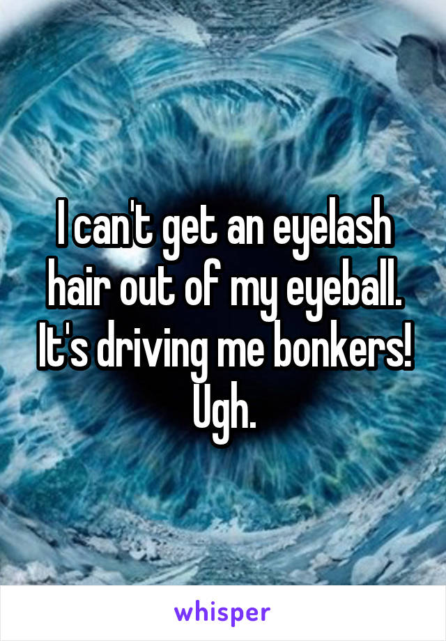 I can't get an eyelash hair out of my eyeball. It's driving me bonkers! Ugh.