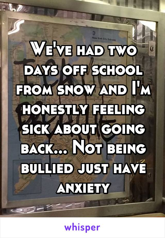 We've had two days off school from snow and I'm honestly feeling sick about going back... Not being bullied just have anxiety