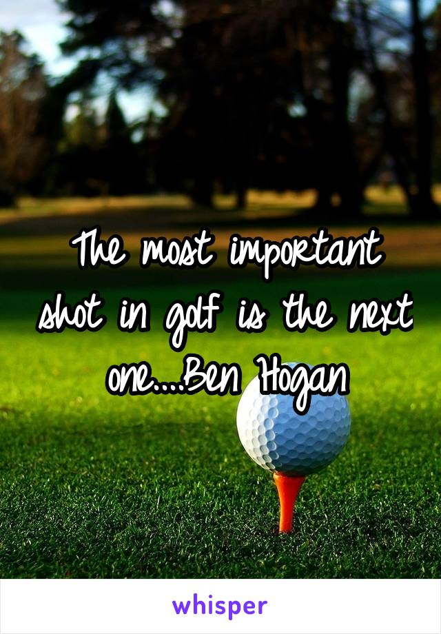 The most important shot in golf is the next one....Ben Hogan