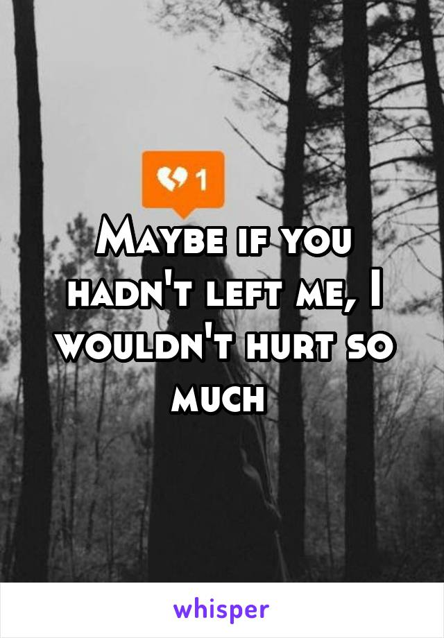 Maybe if you hadn't left me, I wouldn't hurt so much
