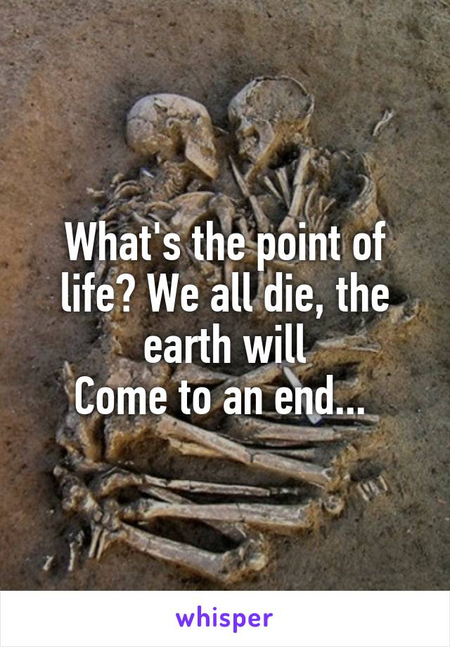 What's the point of life? We all die, the earth will Come to an end...