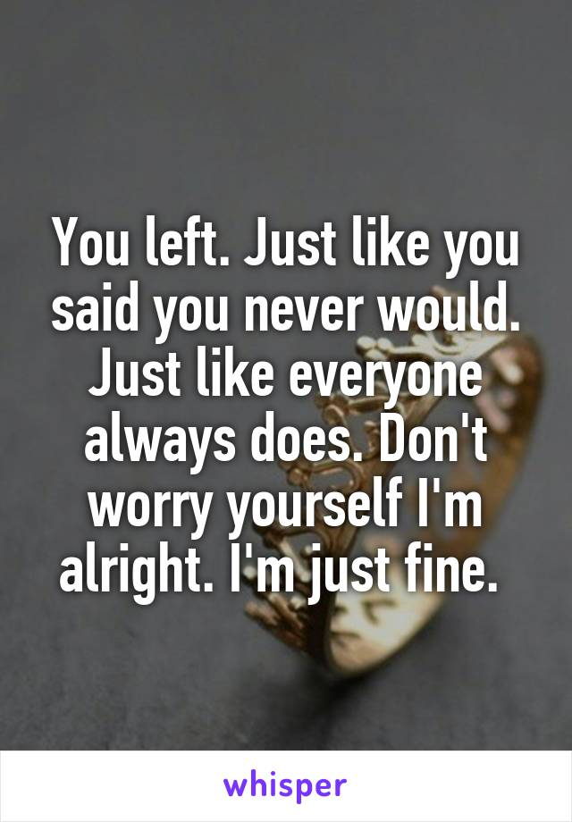 You left. Just like you said you never would. Just like everyone always does. Don't worry yourself I'm alright. I'm just fine.