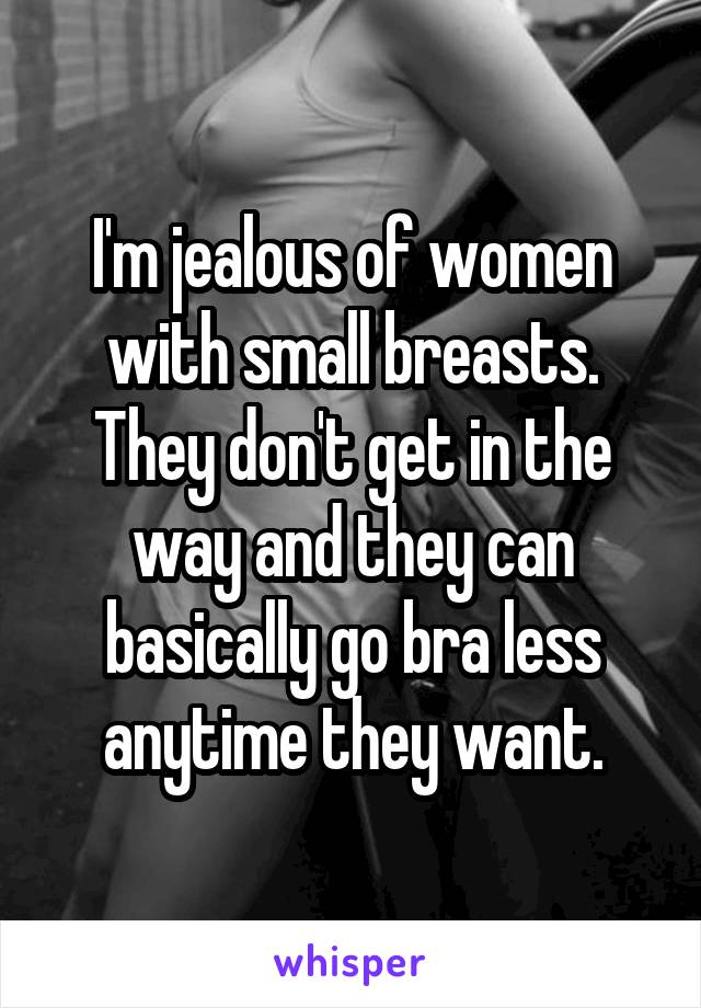 I'm jealous of women with small breasts. They don't get in the way and they can basically go bra less anytime they want.