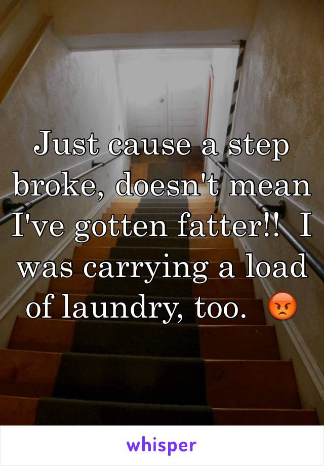 Just cause a step broke, doesn't mean I've gotten fatter!!  I was carrying a load of laundry, too.  😡