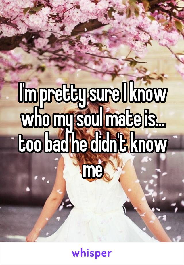 I'm pretty sure I know who my soul mate is... too bad he didn't know me