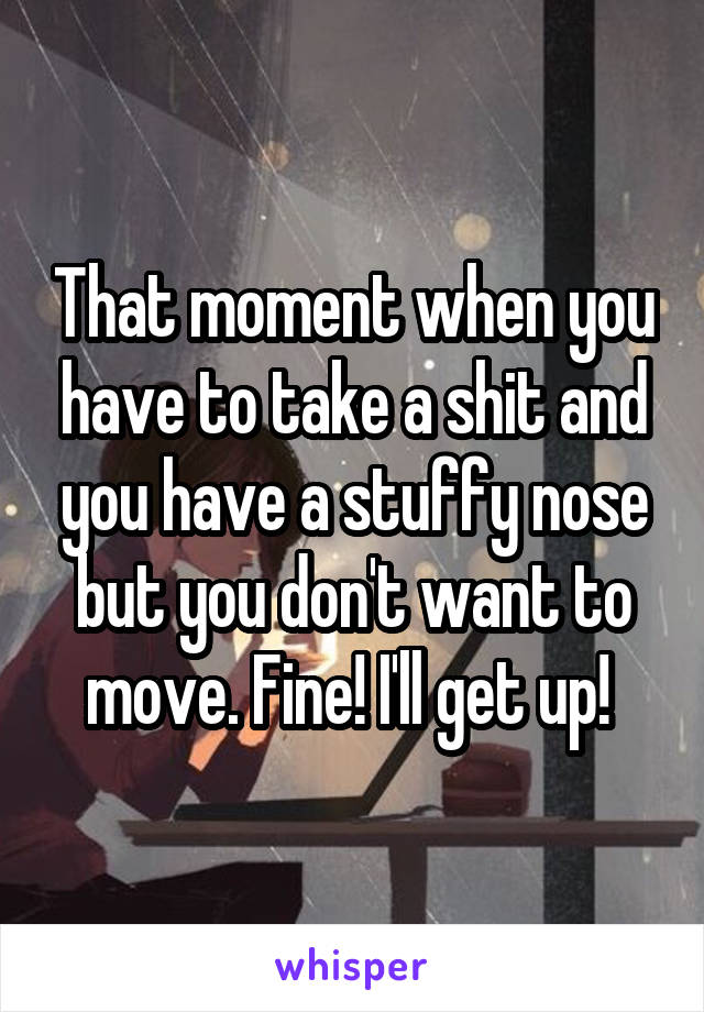 That moment when you have to take a shit and you have a stuffy nose but you don't want to move. Fine! I'll get up!
