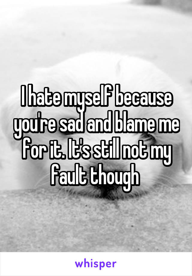 I hate myself because you're sad and blame me for it. It's still not my fault though