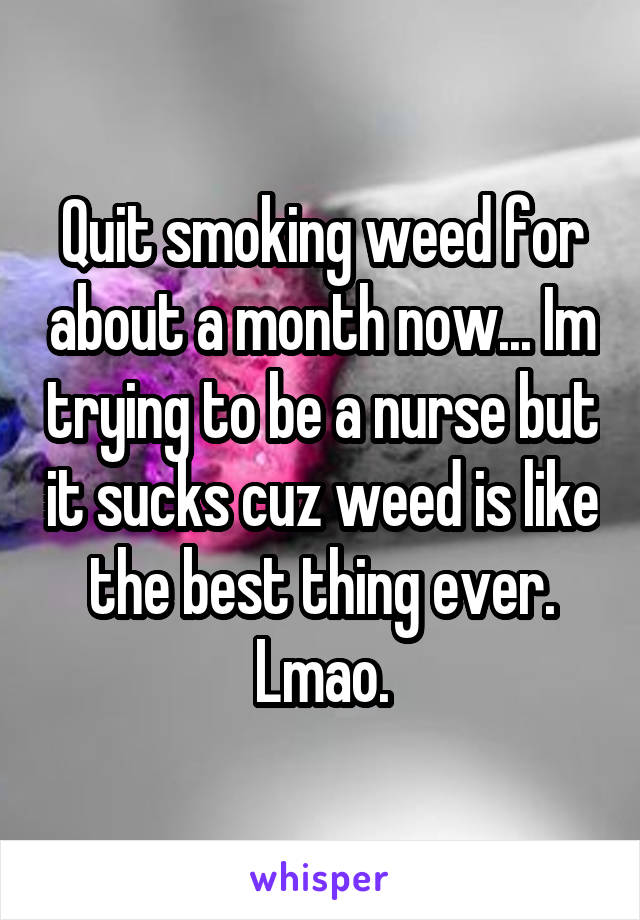 Quit smoking weed for about a month now... Im trying to be a nurse but it sucks cuz weed is like the best thing ever. Lmao.