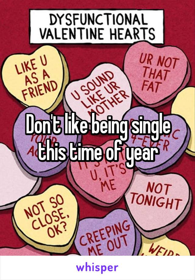 Don't like being single this time of year