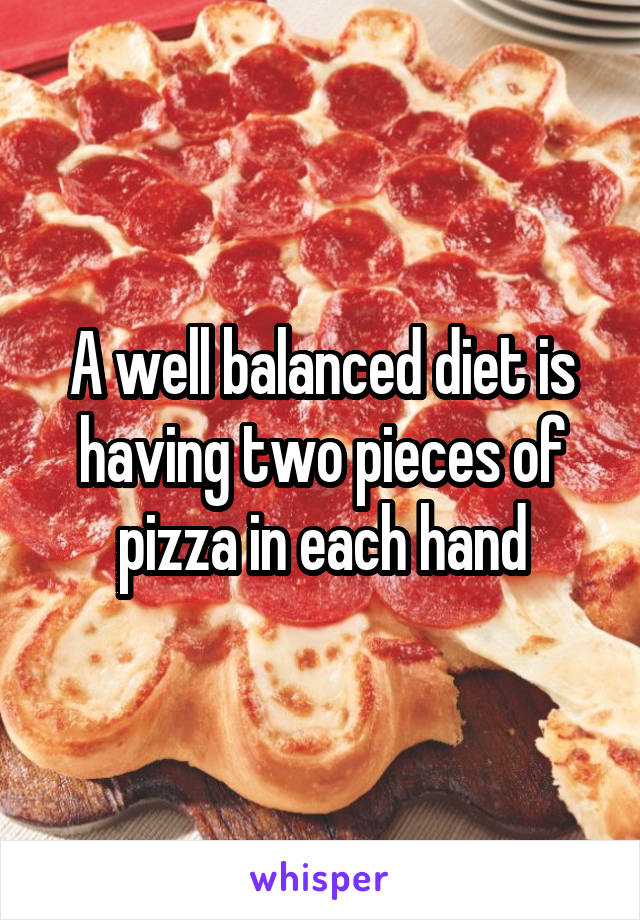 A well balanced diet is having two pieces of pizza in each hand