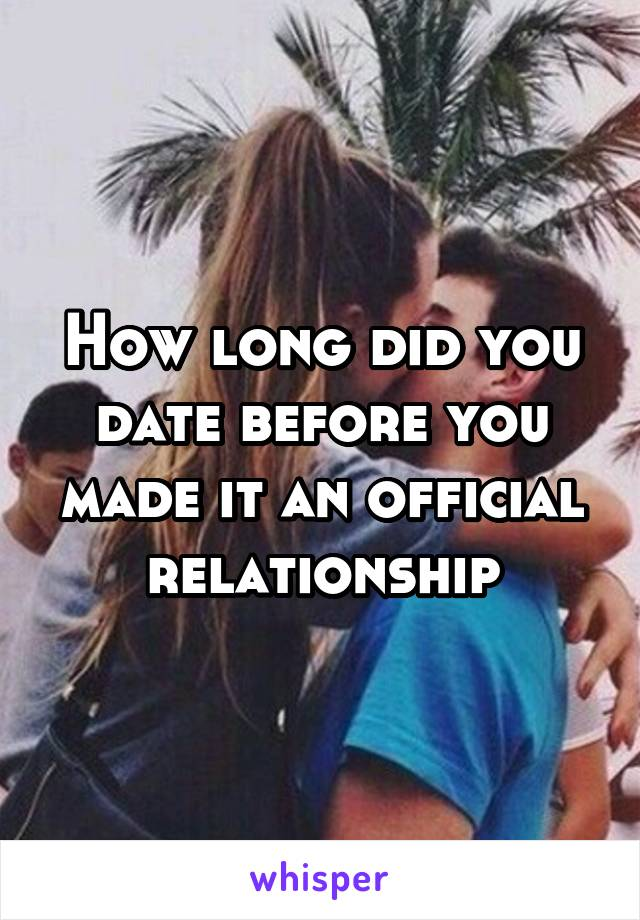 How long did you date before you made it an official relationship
