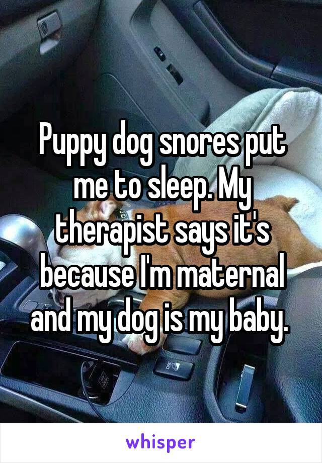 Puppy dog snores put me to sleep. My therapist says it's because I'm maternal and my dog is my baby.