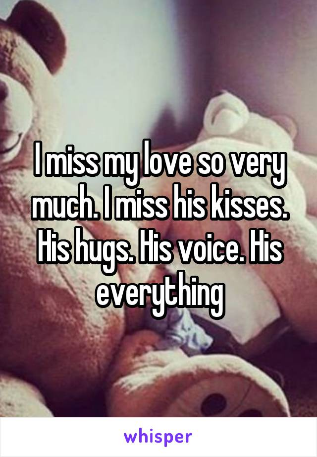 I miss my love so very much. I miss his kisses. His hugs. His voice. His everything