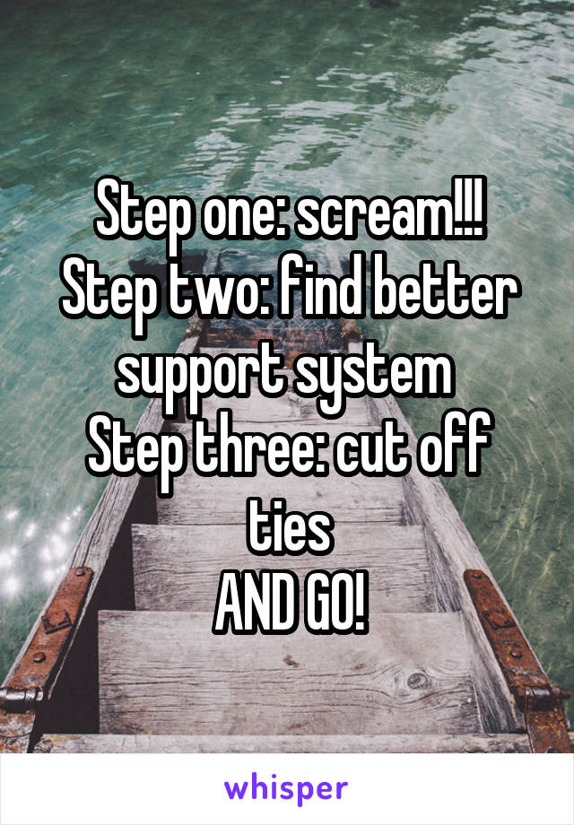 Step one: scream!!! Step two: find better support system  Step three: cut off ties AND GO!