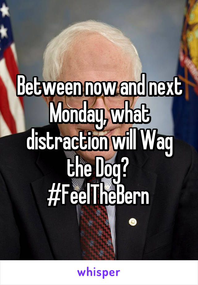 Between now and next Monday, what distraction will Wag the Dog?  #FeelTheBern