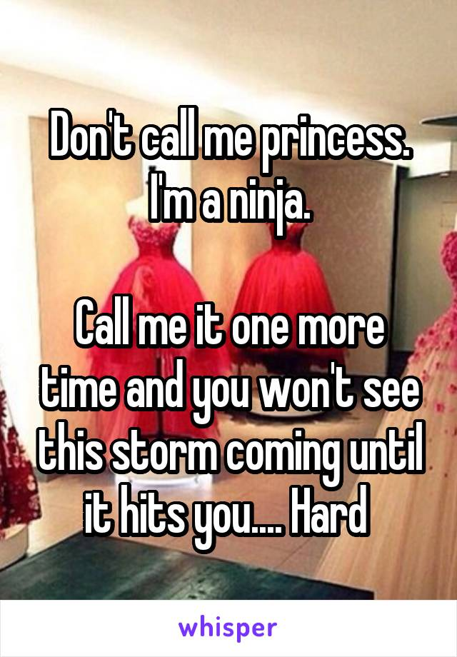 Don't call me princess. I'm a ninja.  Call me it one more time and you won't see this storm coming until it hits you.... Hard