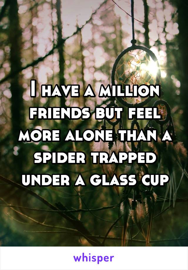 I have a million friends but feel more alone than a spider trapped under a glass cup