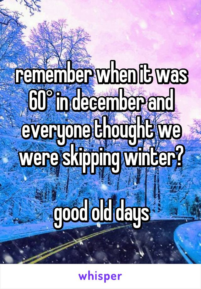 remember when it was 60° in december and everyone thought we were skipping winter?  good old days