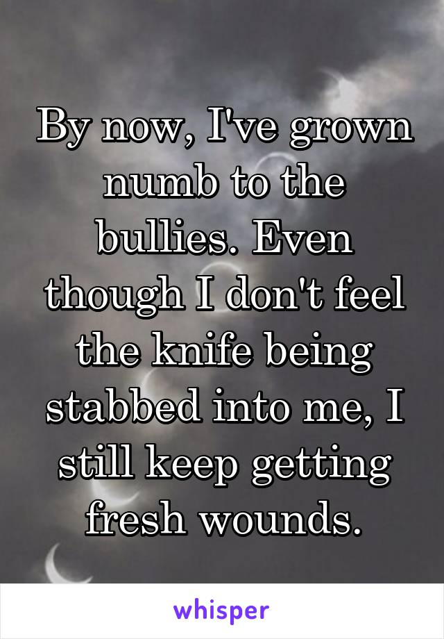 By now, I've grown numb to the bullies. Even though I don't feel the knife being stabbed into me, I still keep getting fresh wounds.