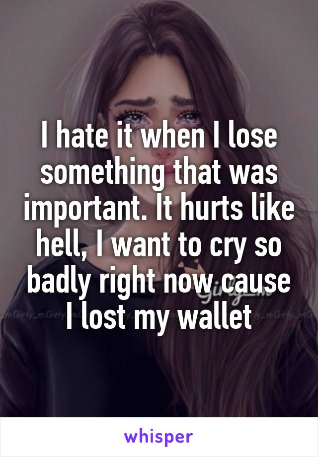 I hate it when I lose something that was important. It hurts like hell, I want to cry so badly right now cause I lost my wallet