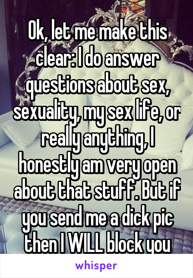 How to answer sex questions