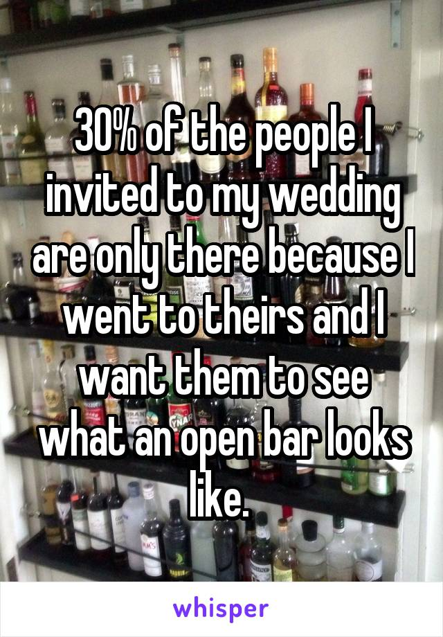 30% of the people I invited to my wedding are only there because I went to theirs and I want them to see what an open bar looks like.