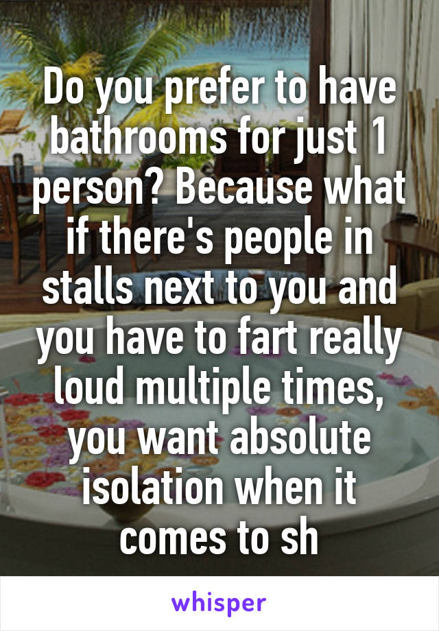 Do you prefer to have bathrooms for just 1 person? Because what if there's people in stalls next to you and you have to fart really loud multiple times, you want absolute isolation when it comes to sh