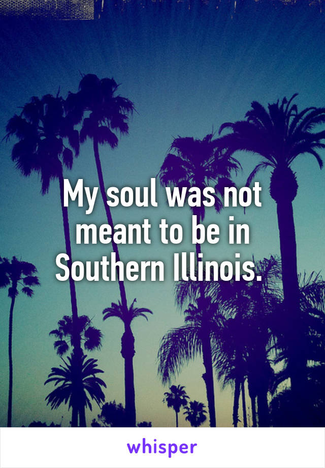 My soul was not meant to be in Southern Illinois.