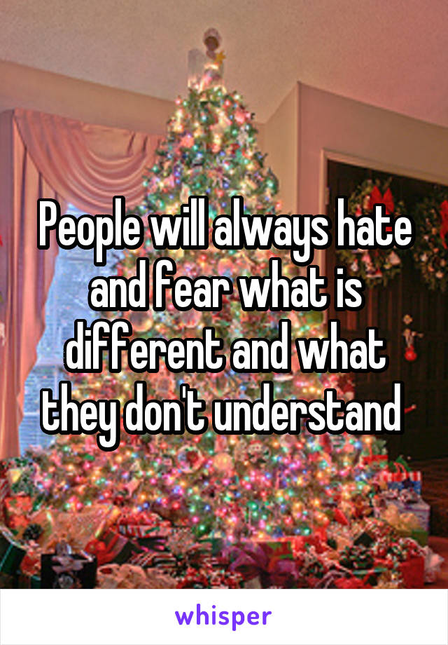 People will always hate and fear what is different and what they don't understand