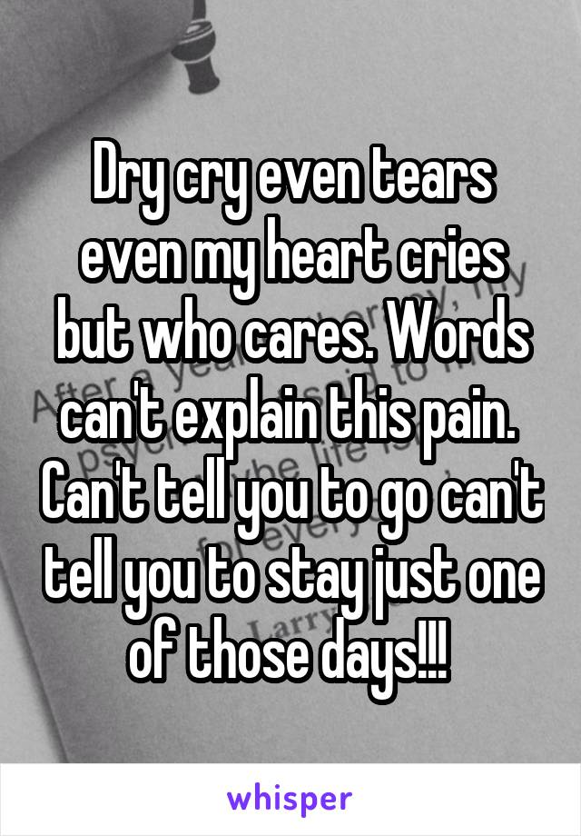 Dry cry even tears even my heart cries but who cares. Words can't explain this pain.  Can't tell you to go can't tell you to stay just one of those days!!!