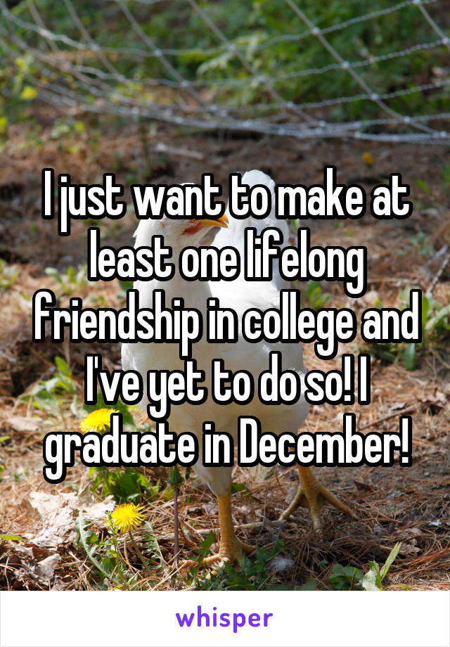 I just want to make at least one lifelong friendship in college and I've yet to do so! I graduate in December!