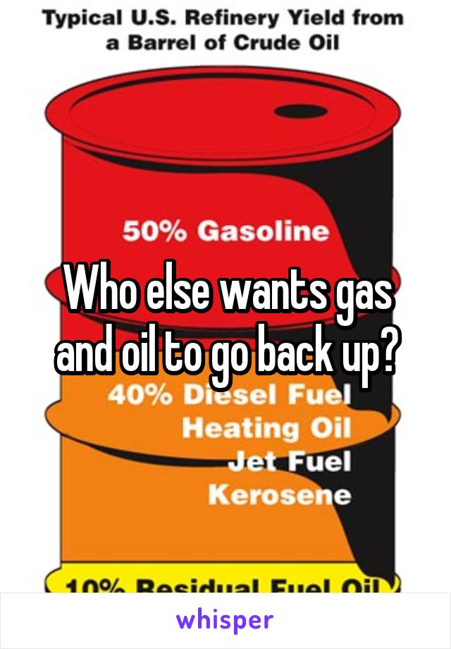 Who else wants gas and oil to go back up?