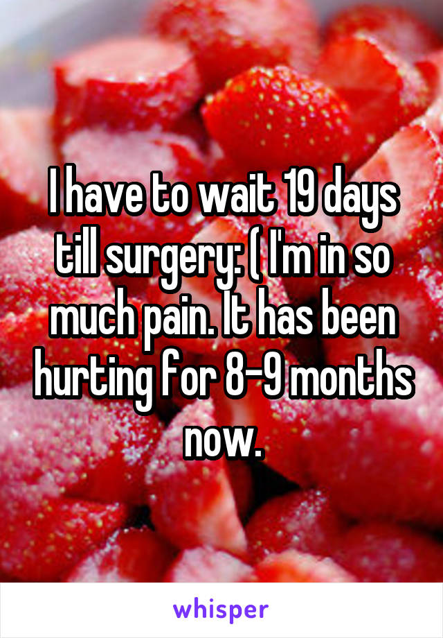 I have to wait 19 days till surgery: ( I'm in so much pain. It has been hurting for 8-9 months now.