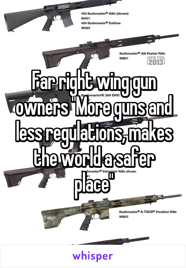 "Far right wing gun owners ""More guns and less regulations, makes the world a safer place"""