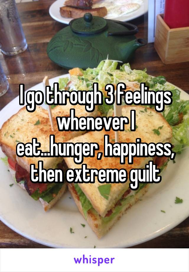 I go through 3 feelings whenever I eat...hunger, happiness, then extreme guilt