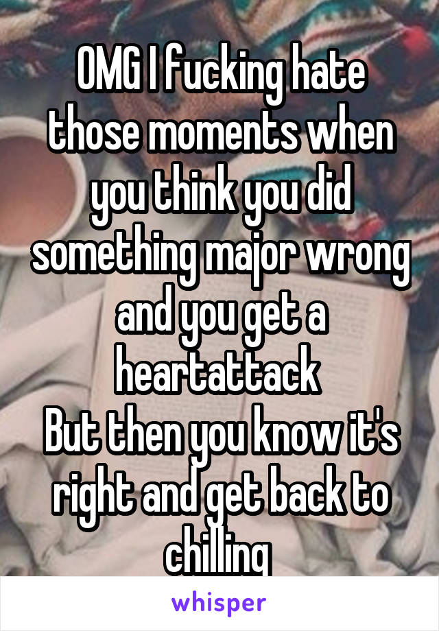 OMG I fucking hate those moments when you think you did something major wrong and you get a heartattack  But then you know it's right and get back to chilling