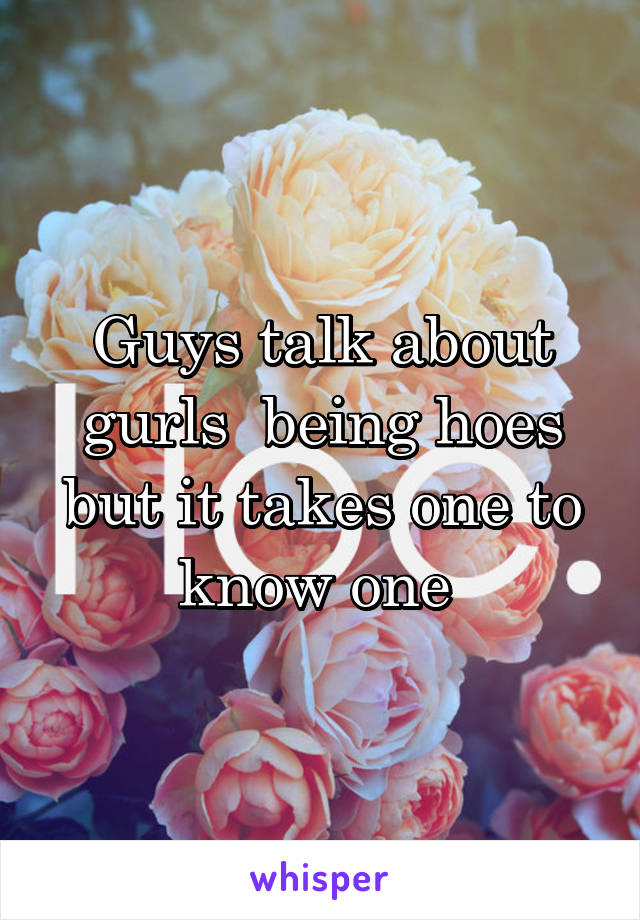 Guys talk about gurls  being hoes but it takes one to know one