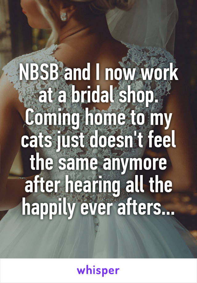 NBSB and I now work at a bridal shop. Coming home to my cats just doesn't feel the same anymore after hearing all the happily ever afters...