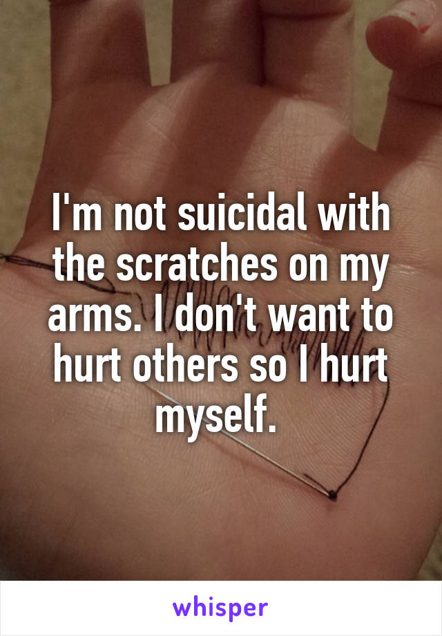 I'm not suicidal with the scratches on my arms. I don't want to hurt others so I hurt myself.