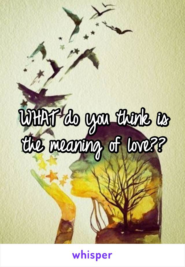 WHAT do you think is the meaning of love??