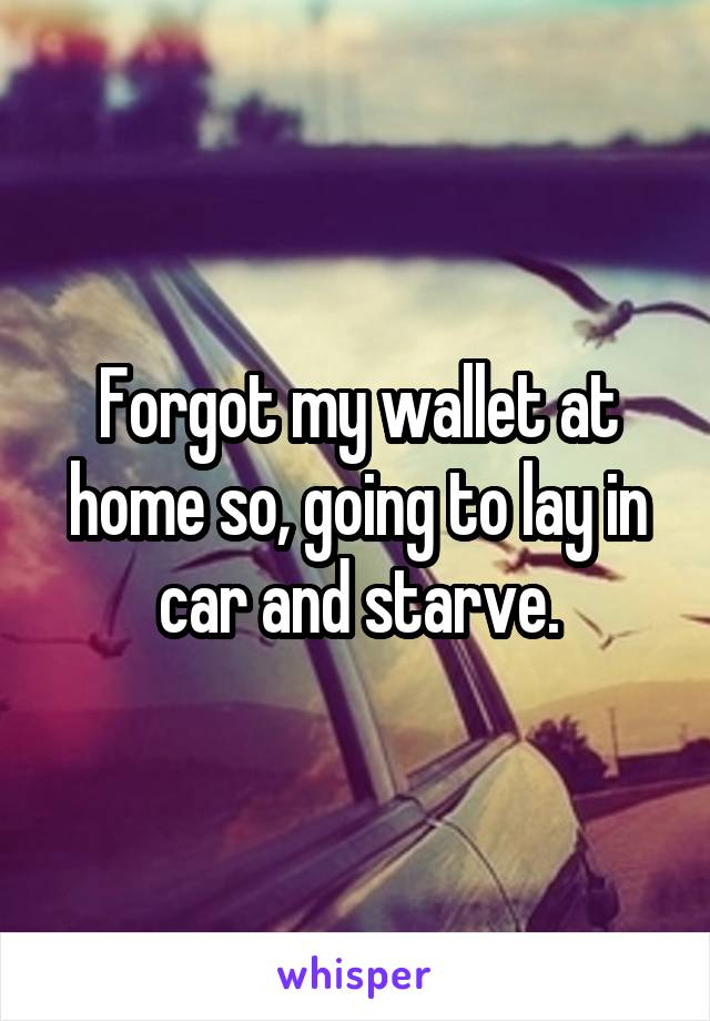 Forgot my wallet at home so, going to lay in car and starve.