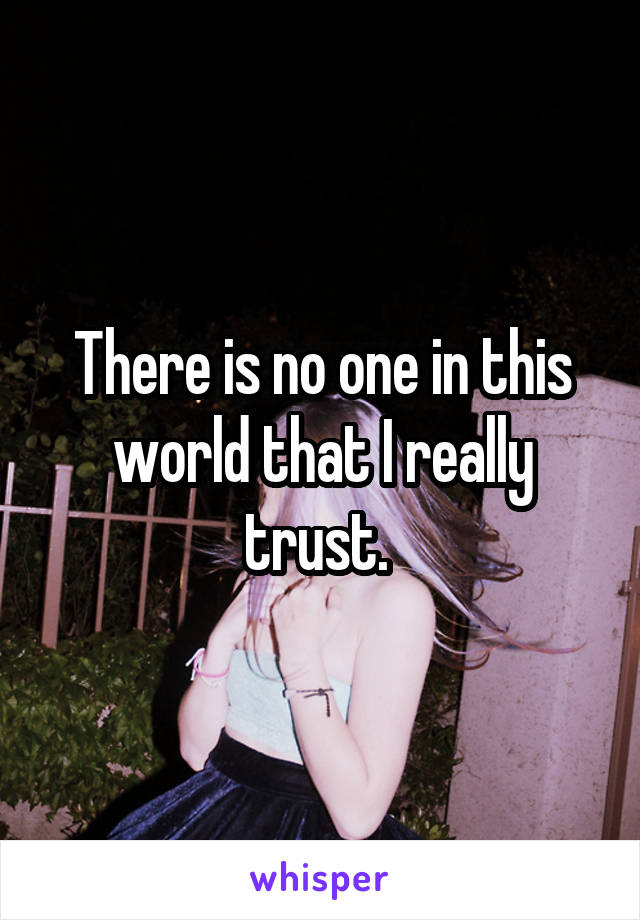 There is no one in this world that I really trust.