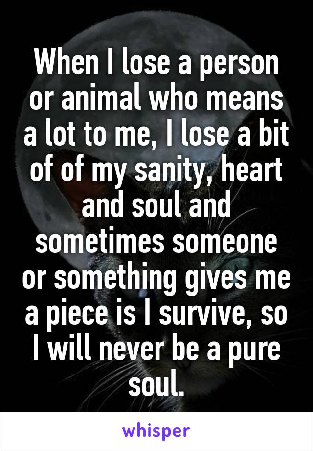 When I lose a person or animal who means a lot to me, I lose a bit of of my sanity, heart and soul and sometimes someone or something gives me a piece is I survive, so I will never be a pure soul.