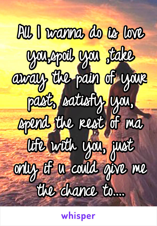 All I wanna do is love you,spoil you ,take away the pain of your past, satisfy you, spend the rest of ma life with you, just only if u could give me the chance to....
