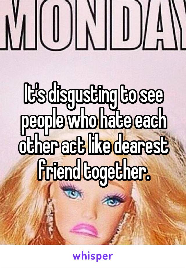 It's disgusting to see people who hate each other act like dearest friend together.
