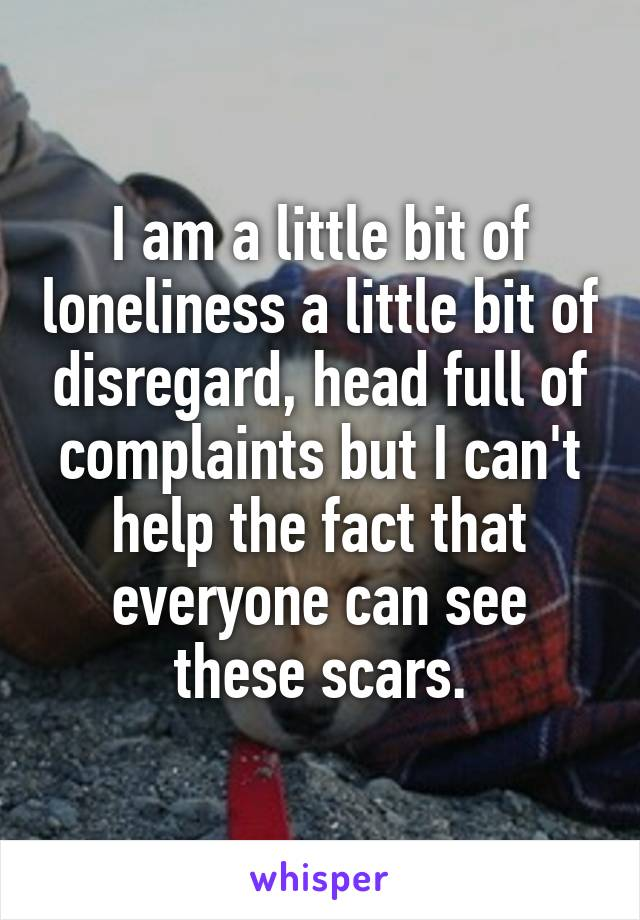 I am a little bit of loneliness a little bit of disregard, head full of complaints but I can't help the fact that everyone can see these scars.